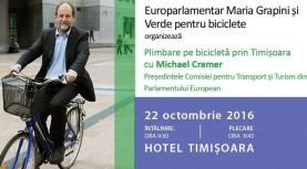 O tură pe bicicletă cu un invitat special: europarlamentarul Michael Cramer, la Timișoara